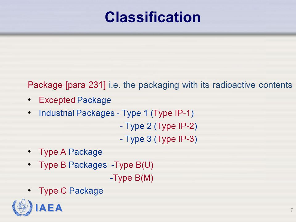 Classification Package [para 231] i.e. the packaging with its radioactive contents. Excepted Package.
